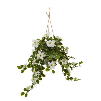 3.5 Poinsettia and Variegated Holly Artificial Plant in Hanging Metal Bucket Real Touch - SKU #P1344-WH