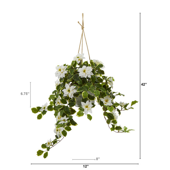 3.5 Poinsettia and Variegated Holly Artificial Plant in Hanging Metal Bucket Real Touch - SKU #P1344-WH - 1