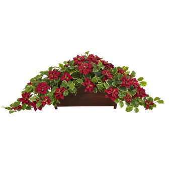 51 Poinsettia and Variegated Holly Artificial Plant in Decorative Planter Real Touch - SKU #P1345