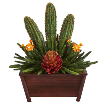 18 Mixed Cactus Succulent Artificial Plant in Planter - SKU #P1347