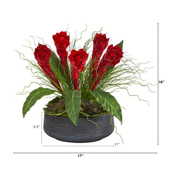 17 Ginger and Echeveria Succulent Artificial Plant in Decorative Bowl - SKU #P1349 - 1