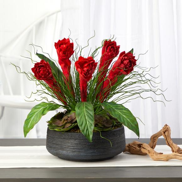 17 Ginger and Echeveria Succulent Artificial Plant in Decorative Bowl - SKU #P1349 - 2