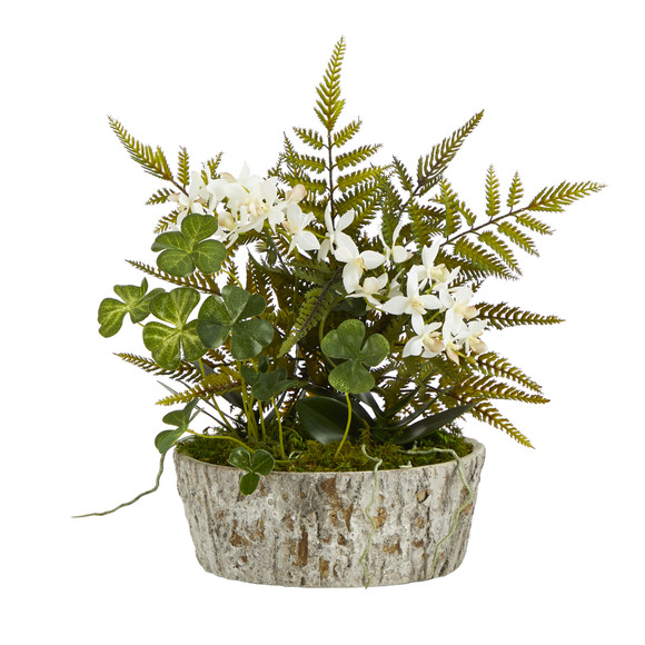 13 Orchid Phalaenopsis Clover and Fern Artificial Plant in Weathered Oak Planter - SKU #P1353