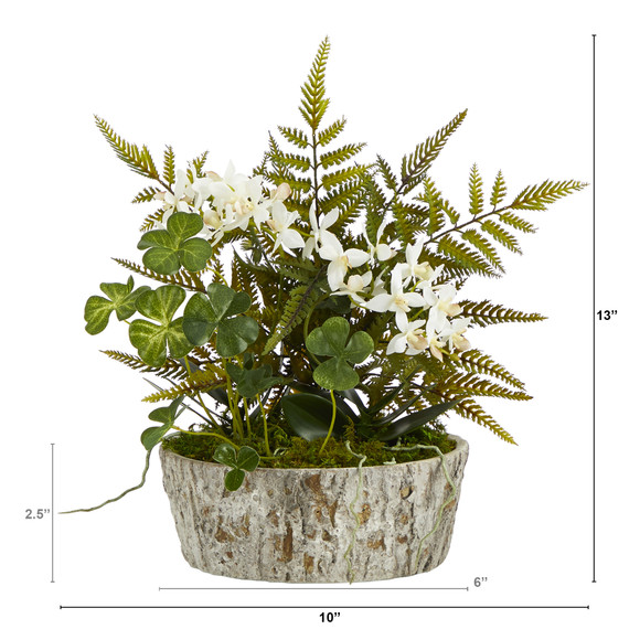 13 Orchid Phalaenopsis Clover and Fern Artificial Plant in Weathered Oak Planter - SKU #P1353 - 1