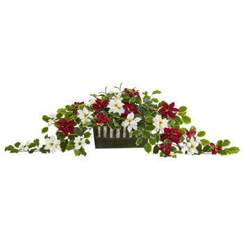 39 Poinsettia and Variegated Holly Artificial Plant in Decorative Planter Real Touch - SKU #P1354