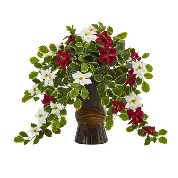 22.5 Poinsettia and Holly Artificial Plant in Decorative Planter Real Touch - SKU #P1355