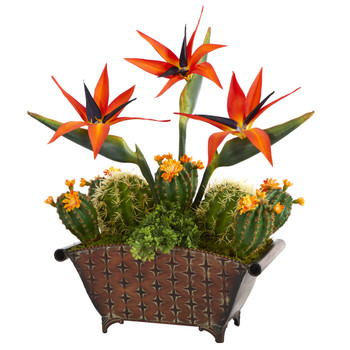 21 Bird of Paradise and Cactus Artificial Plant in Metal Planter - SKU #P1356