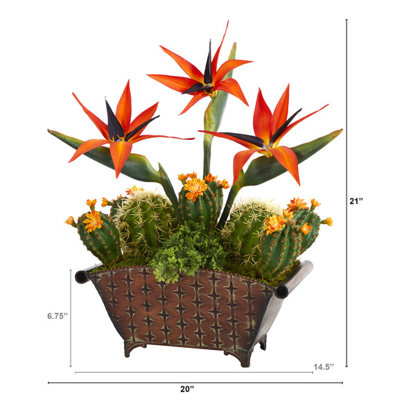 21 Bird of Paradise and Cactus Artificial Plant in Metal Planter - SKU #P1356 - 1