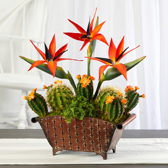 21 Bird of Paradise and Cactus Artificial Plant in Metal Planter - SKU #P1356 - 2