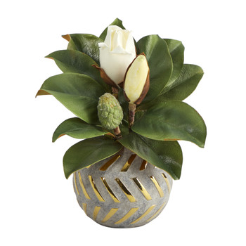 12 Magnolia Artificial Plant in Planter with Gold Trimming - SKU #P1358