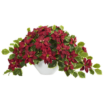 20 Poinsettia and Variegated Holly Artificial Plant in Oval White Planter Real Touch - SKU #P1360