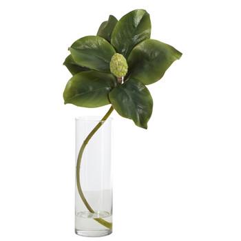 18 Magnolia Artificial Plant in Glass Planter - SKU #P1368