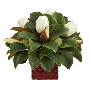 13 Magnolia Bud Artificial Plant in Red Planter - SKU #P1370