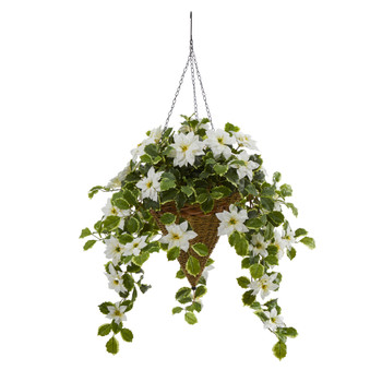 3.5 Poinsettia and Variegated Holly Artificial Plant in Hanging Cone Basket Real Touch - SKU #P1372-WH