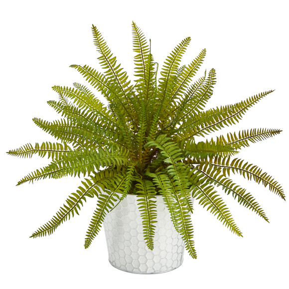14 Fern Artificial Plant in Embossed White Planter - SKU #P1377