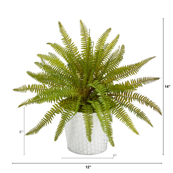 14 Fern Artificial Plant in Embossed White Planter - SKU #P1377 - 1