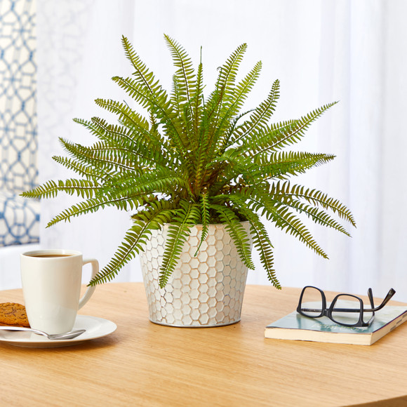 14 Fern Artificial Plant in Embossed White Planter - SKU #P1377 - 2
