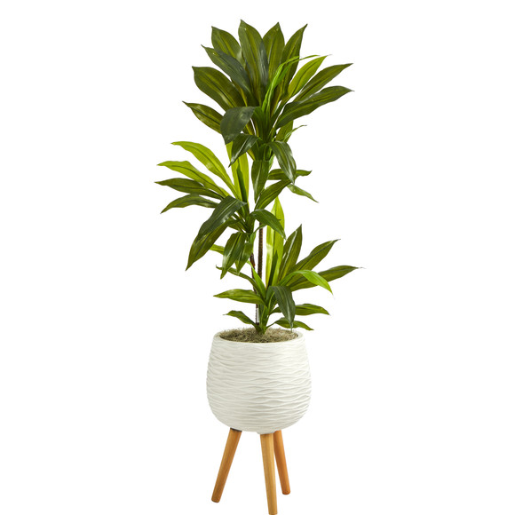 46 Dracaena Artificial Plant in White Planter with Stand Real Touch - SKU #P1379