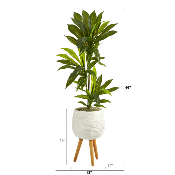 46 Dracaena Artificial Plant in White Planter with Stand Real Touch - SKU #P1379 - 1