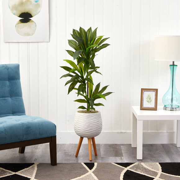 46 Dracaena Artificial Plant in White Planter with Stand Real Touch - SKU #P1379 - 2