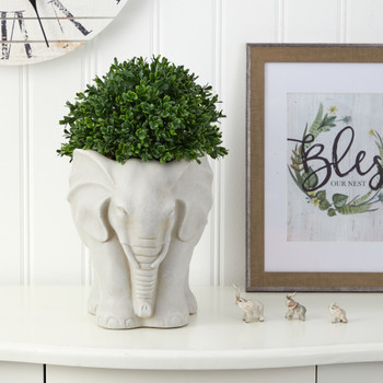16 Boxwood Topiary Artificial Plant in Elephant Shaped Planter UV Resistant Indoor/Outdoor - SKU #P1385