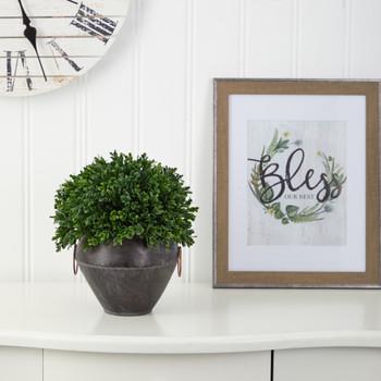 11 Boxwood Topiary Artificial Plant in Metal Bowl UV Resistant Indoor/Outdoor - SKU #P1386