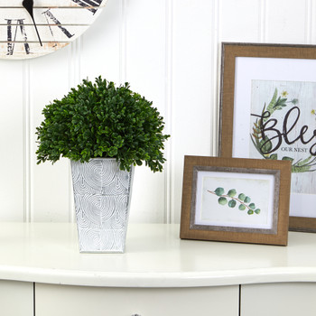 13 Boxwood Topiary Artificial Plant in Embossed White Planter UV Resistant Indoor/Outdoor - SKU #P1387