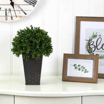 13 Boxwood Topiary Artificial Plant in Embossed Black Planter UV Resistant Indoor/Outdoor - SKU #P1388
