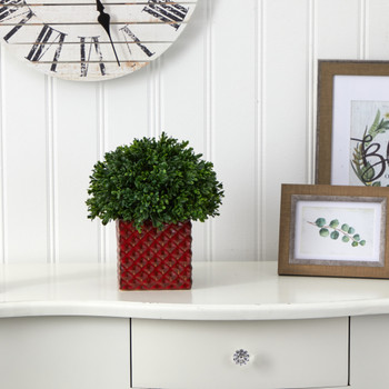11 Boxwood Topiary Artificial Plant in Red Planter UV Resistant Indoor/Outdoor - SKU #P1389