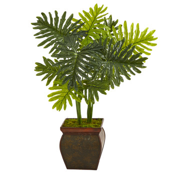 40 Philodendron Artificial Plant in Decorative Planter Real Touch - SKU #P1392