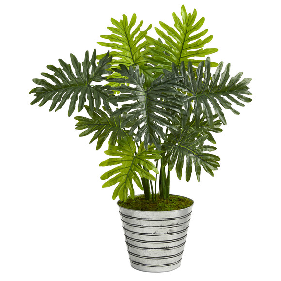 3.5 Philodendron Artificial Plant in Decorative Tin Bucket Real Touch - SKU #P1393
