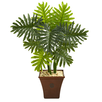 3.5 Philodendron Artificial Plant in Brown Planter Real Touch - SKU #P1394