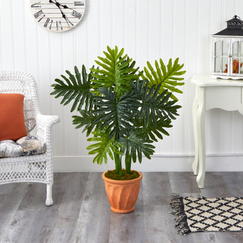 3.5 Philodendron Artificial Plant in Terra-Cotta Planter Real Touch - SKU #P1395