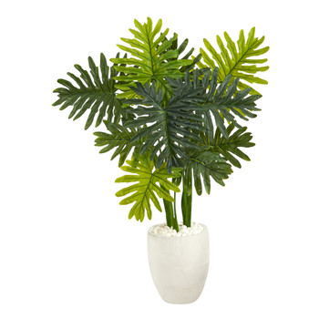 3.5 Philodendron Artificial Plant in White Planter Real Touch - SKU #P1396