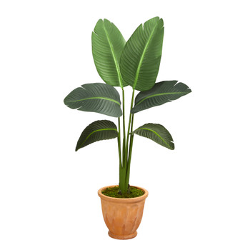 49 Travelers Palm Artificial Plant in Terra-Cotta Planter Real Touch - SKU #P1399