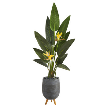 50 Bird of Paradise Artificial Plant in Gray Planter with Stand Real Touch - SKU #P1402