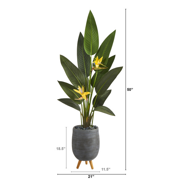 50 Bird of Paradise Artificial Plant in Gray Planter with Stand Real Touch - SKU #P1402 - 1