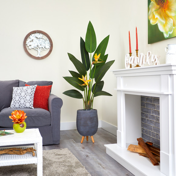 50 Bird of Paradise Artificial Plant in Gray Planter with Stand Real Touch - SKU #P1402 - 3