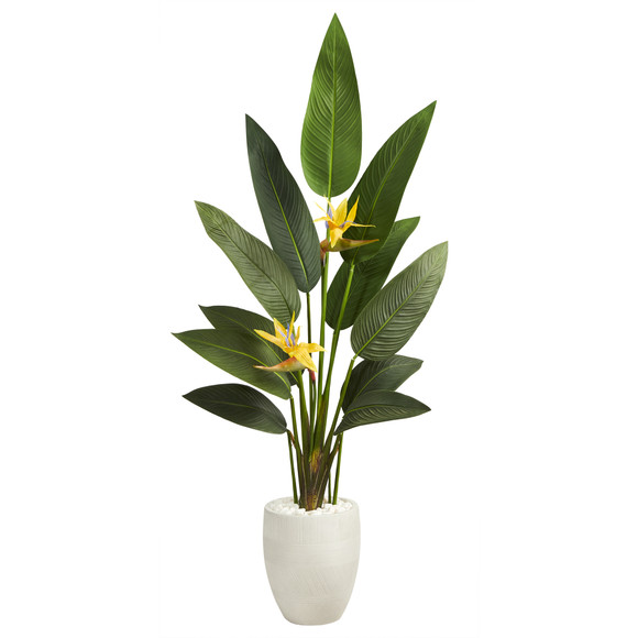 5 Bird of Paradise Artificial Plant in White Planter Real Touch - SKU #P1403