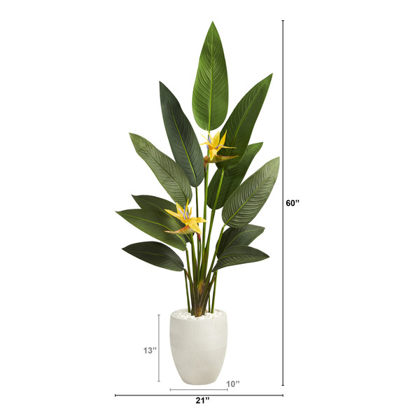 5 Bird of Paradise Artificial Plant in White Planter Real Touch - SKU #P1403 - 1