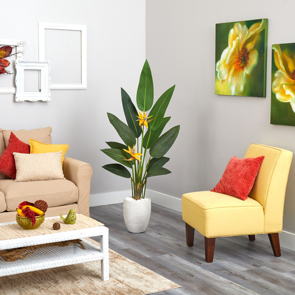 5 Bird of Paradise Artificial Plant in White Planter Real Touch - SKU #P1403 - 2