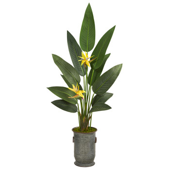 62 Bird of Paradise Artificial Plant in Vintage Metal Planter Real Touch - SKU #P1404