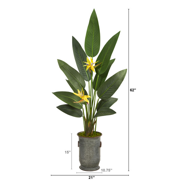 62 Bird of Paradise Artificial Plant in Vintage Metal Planter Real Touch - SKU #P1404 - 1