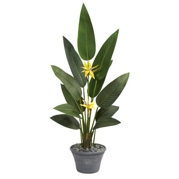 58 Bird of Paradise Artificial Plant in Gray Planter Real Touch - SKU #P1406