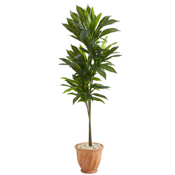 57 Dracaena Artificial Plant in Terra-Cotta Planter Real Touch - SKU #P1407