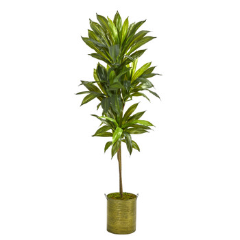 58 Dracaena Artificial Plant in Green Metal Planter Real Touch - SKU #P1409