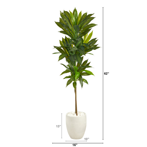 62 Dracaena Artificial Plant in White Planter Real Touch - SKU #P1411 - 1