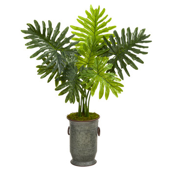 3.5 Philodendron Artificial Plant in Vintage Metal Planter Real Touch - SKU #P1414