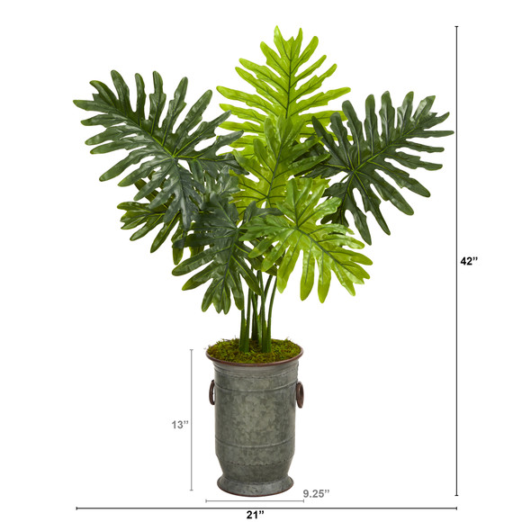 3.5 Philodendron Artificial Plant in Vintage Metal Planter Real Touch - SKU #P1414 - 1