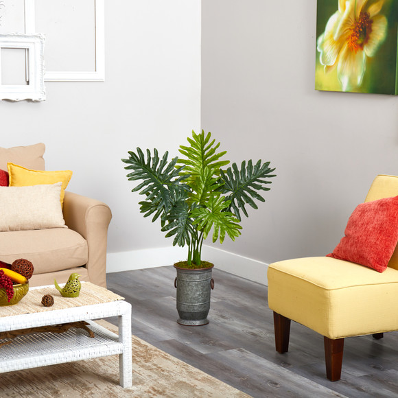 3.5 Philodendron Artificial Plant in Vintage Metal Planter Real Touch - SKU #P1414 - 2